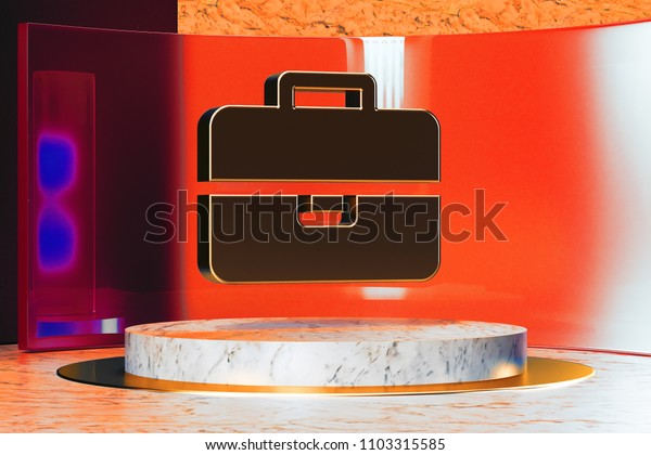 Golden Briefcase Icon on White Marble and Red Glass. 3D Illustration of Stylish Golden Bag, Briefcase, Business, Case, Job, Portfolio, Suitcase Icon Set in the Red Installation.