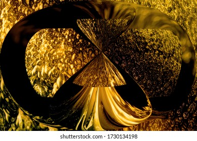 Golden bright ornament with metal texture. Abstract background for the hourglass concept. Art Nouveau decoration.