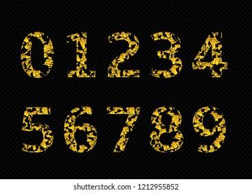 Golden broken numbers, old cracked numbers. Raster illustration