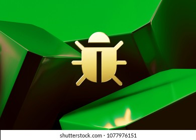 Golden Bug Icon Around Green Glossy Boxes. 3D Illustration of Fine Golden Bug, Defect, Flaw, Glitch, Insect, Security Icons on the Green Abstract Background.