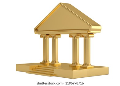 A golden building isolated on white background 3D illustration.