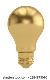 Golden bulb isolated on white background 3D illustration.