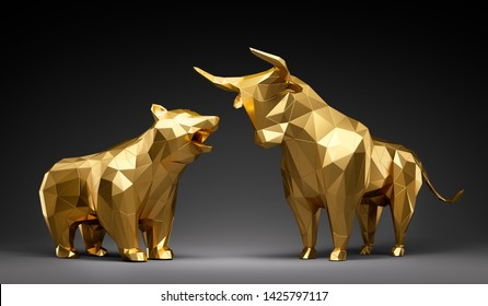 Golden bull and bear with black backdrop - 3D illustration