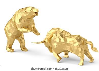 Golden bull with bear on a white background 3d illustration.