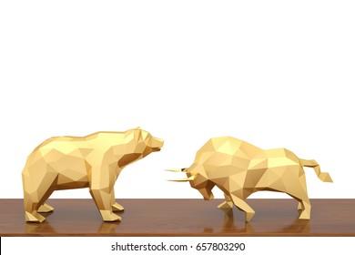 Golden bull and bear on wood board 3d illustration.