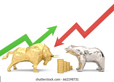 Golden bull with silver bear and graph on a white background 3d illustration.