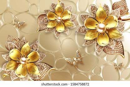 Golden butterfly and flower with gem design for wall or TV backdrop decoration. 3D rendering