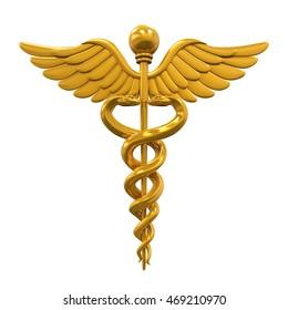 Golden Caduceus Medical Symbol. 3D rendering
