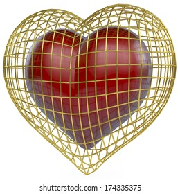 Golden cage, heart shaped around a red, reflecting, shiny heart, low polygon 3d rendering on white background