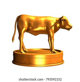 The golden calf was an idol created by ancient Isrealites while Moses was on Mount Sinai - 3d render.