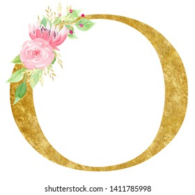 Golden capital O letter raster illustration. Latin alphabet symbol. Vowel with beautiful blossom watercolor painting. Floral logotype isolated on white background. Decorative botanical round frame