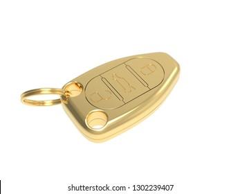 Golden car keys with keyring representing luxury car - 3D rendering