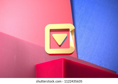 Golden Caret Down in Square Icon on the Blue and Pink Geometric Background. 3D Illustration of Gold Arrow, Caret, Down, Pointer, Select, Selector Icon Set With Color Boxes on Pink Background.