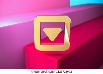 Golden Caret Down in Square Icon on the Magenta and Cyan Geometric Background. 3D Illustration of Gold Arrow, Caret, Down, Pointer, Select, Selector Icon Set With Color Boxes on Magenta Background.