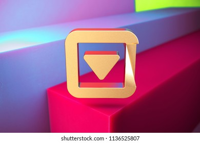 Golden Caret Down in Square Icon on the Violet and Grass Green Geometric Background. 3D Illustration of Gold Arrow, Caret, Down, Pointer, Select, Selector Icon Set With Installation of Color Boxes.