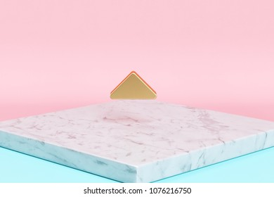 Golden Caret Up Icon on the Candy Background . 3D Illustration of Golden Arrow, Caret, Drop Up, Up, Upload Icons on Pink and Blue Color With White Marble.