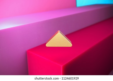 Golden Caret Up Icon on the Magenta and Cyan Geometric Background. 3D Illustration of Gold Arrow, Caret, Drop Up, Up, Upload Icon Set With Color Boxes on Magenta Background.
