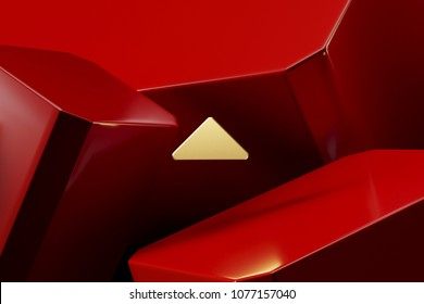 Golden Caret Up Icon With the Red Luxury Boxes. 3D Illustration of Lux Golden Arrow, Caret, Drop Up, Up, Upload Icon Set on the Red Geometric Background.
