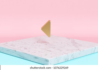 Golden Caret Left Icon on the Candy Background . 3D Illustration of Golden Arrow, Back, Care, Caret, Left, Previous Icons on Pink and Blue Color With White Marble.