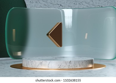 Golden Caret Left Icon on White Marble and Green Glass. 3D Illustration of Stylish Golden Arrow, Back, Care, Caret, Left, Previous Icon Set in the Green Installation.