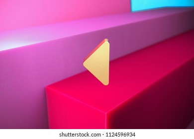 Golden Caret Left Icon on the Magenta and Cyan Geometric Background. 3D Illustration of Gold Arrow, Back, Care, Caret, Left, Previous Icon Set With Color Boxes on Magenta Background.