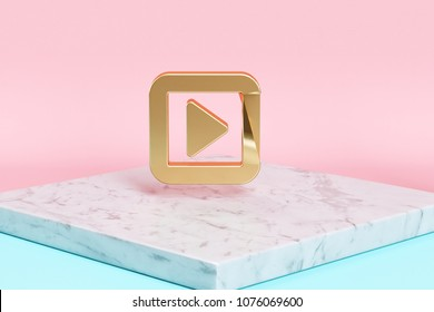 Golden Caret Right in Square Icon on the Candy Background . 3D Illustration of Golden Arrow, Audio, Caret, Next, Play, Player, Right Icons on Pink and Blue Color With White Marble.