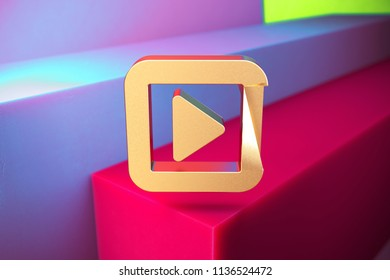 Golden Caret Right in Square Icon on the Violet and Grass Green Geometric Background. 3D Illustration of Gold Arrow, Audio, Caret, Next, Play, Player, Right Icon Set With Installation of Color Boxes.