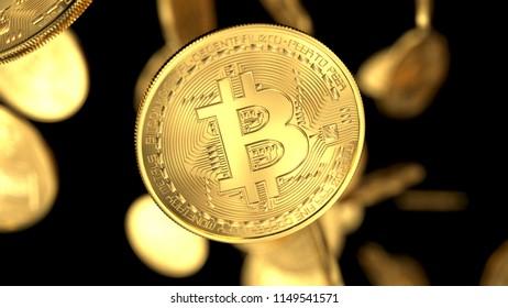 Golden cash bitcoin on black background. 3d render illustration