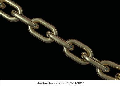 Golden chain 3D rendering
