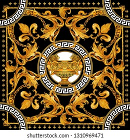 golden chain and baroque new versace scarf design