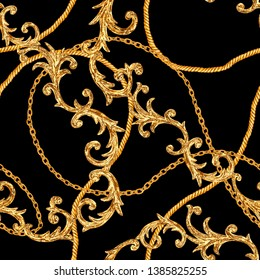 Golden chain glamour seamless pattern. Watercolor hand drawn fashion texture with gold chains and baroque style elements on black background. Watercolour print for textile, fabric, wallpaper, wrapping