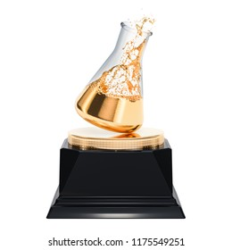 Golden chemical flask award concept. 3D rendering isolated on white background
