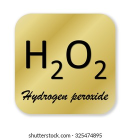 Golden chemical formula of hydrogen peroxide symbol isolated in white background