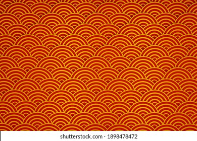Golden Chinese pattern collection, Abstract background, Decorative wallpaper. 3D rendering