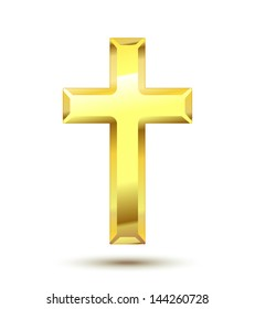 Golden Christian Cross isolated on white background. See also vector version