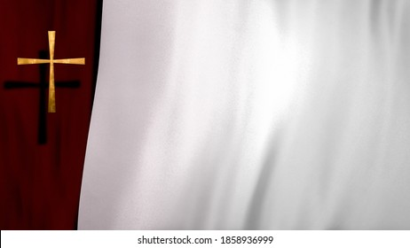 Golden Christian Cross on liturgic red and white satin copy space loop. 3D illustration for online worship symbolizing the passion for Christ in Confirmation, Good Friday, Palm Sunday, and Pentecost
