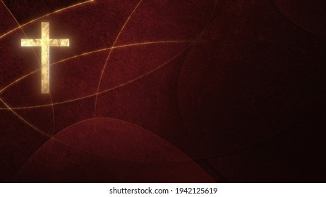 Golden Christian Cross on liturgic red copy space banner background. 3D illustration for online worship symbolizing the passion for Christ in Confirmation, Good Friday, Palm Sunday, and the Pentecost.