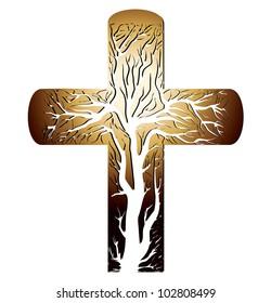 golden christian cross on a white background