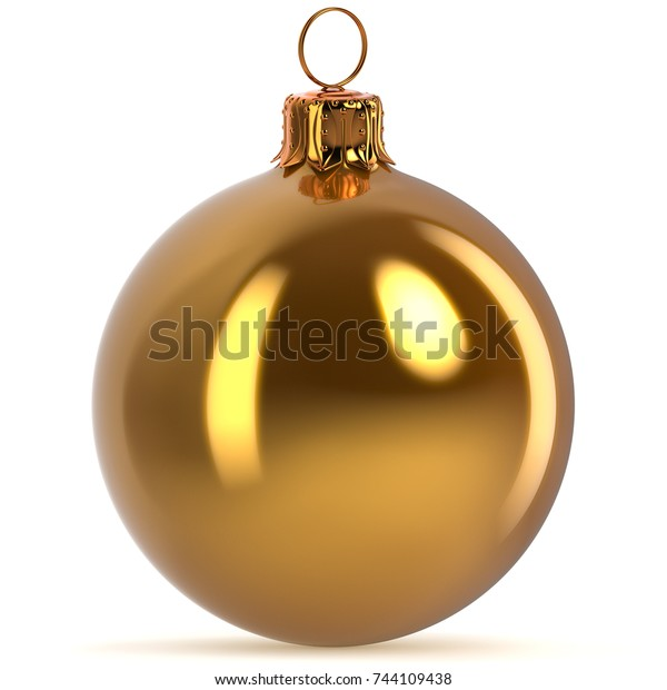 Golden Christmas ball decoration New Year's Eve hanging bauble Merry Xmas ornament shiny sparkling yellow. 3d rendering illustration