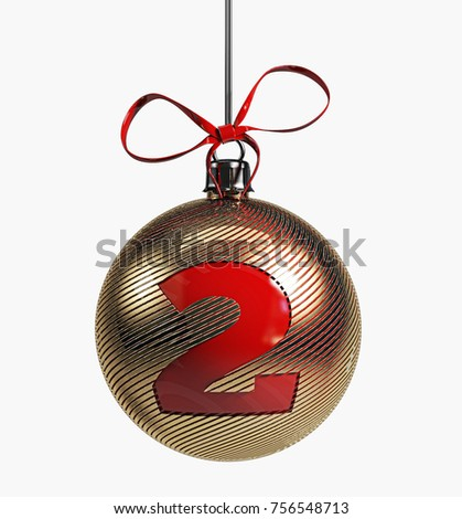 golden christmas ball font with red ribbon 3d rendering isolated number 2 - Golden Christmas 2