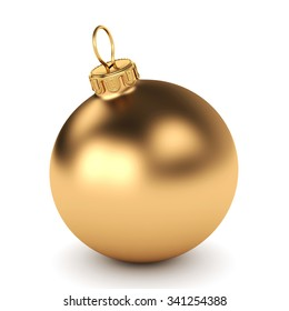 Golden Christmas ball on a white background