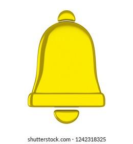 Golden Christmas bell. 3D illustration
