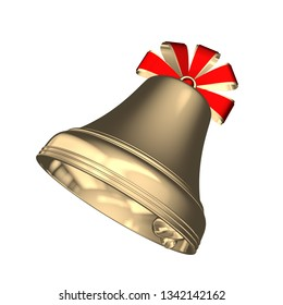Golden Christmas bell with red ribbons isolated on white background