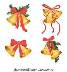 Golden Christmas bells holiday collection with green tree branches and red bow ribbon isolated on white background. Gold bell for app game, web ui or interior decoration. Graphic xmas illustration set