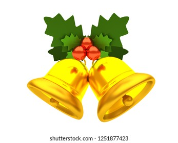 Golden Christmas jingle bells with holly berries. Merry Christmas and Happy New Year. 3D style illustration isolated on white background.