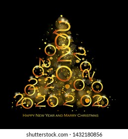 Golden Christmas tree on a dark background. Christmas tree made up of numbers 2020.