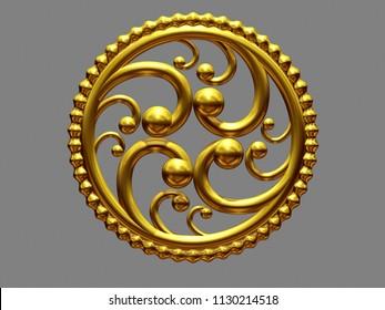 golden, circle Emblem, 3d illustration