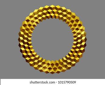 "golden, circle, op-art Frame, ""Rhombus"", 3d Illustration"