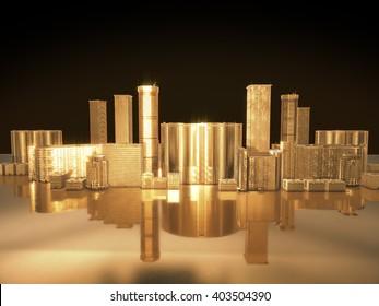 golden city.abstract space background.3D Rendering