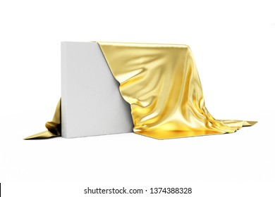 Golden Cloth Fabric Covered Blank Board isolated on white background. 3D rendering